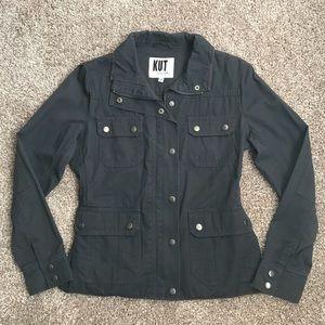 Dark gray military anorak jacket